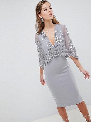 Club L Sequin Cape Overlay Scuba Midi Dress - Silver grey