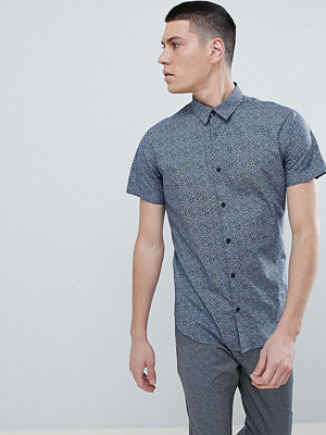 Selected Homme Short Sleeve Shirt With All Over Ditsy Print - Dark sapphire