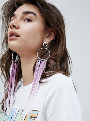 ASOS örhängen Statement Ombre Tassel Hoop Earrings - Rhodium