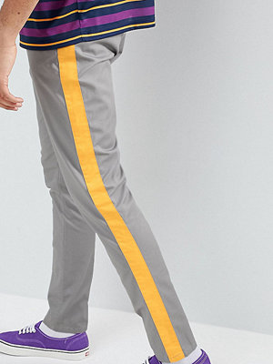ASOS DESIGN Tall Tapered Trousers In Grey With Yellow Side Stripe