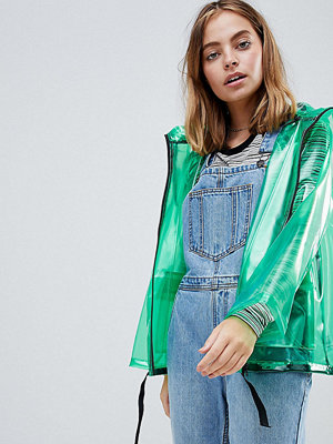 ASOS Petite ASOS DESIGN Petite Rain Jacket With Contrast Binding