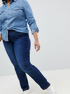 Zizzi Emily Jeans med mellanhög midja och smal passform Blå denim