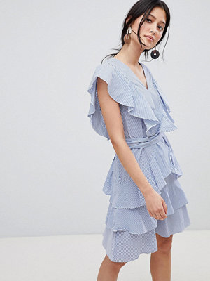 Y.a.s Frill Detail Tiered Dress - Stripe