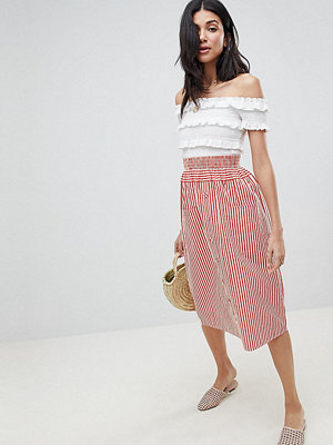 Asos Tall ASOS DESIGN Tall cotton midi skirt with button front in stripe - Red / ivory