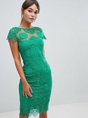 Paper Dolls Cap Sleeve Crochet Lace Pencil Dress - Emerald