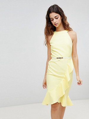 Paper Dolls Sleeveless Ruffle Detail Dress With Belt