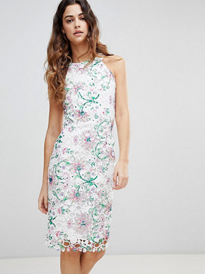 Paper Dolls Printed Crochet Lace Sleeveless Pencil Dress