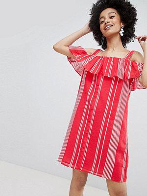 Only Stripe Cold Shoulder Button Through Dress - Multi