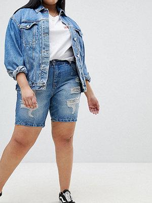 Zizzi Slitna jeansshorts Ljusblå demin