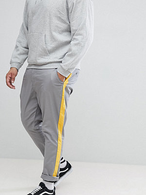 ASOS DESIGN Plus Tapered Trousers In Grey With Yellow Side Stripe