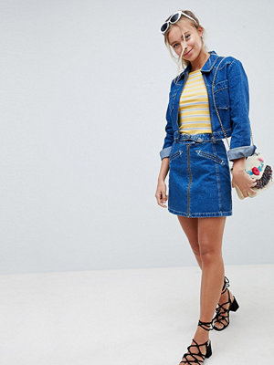 ASOS DESIGN denim skirt with western buckle detail co-ord