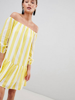 Parisian Off Shoulder Stripe Swing Dress