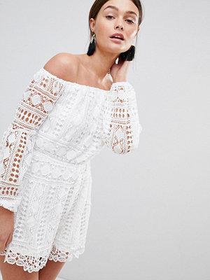 Parisian Off Shoulder Crochet Playsuit