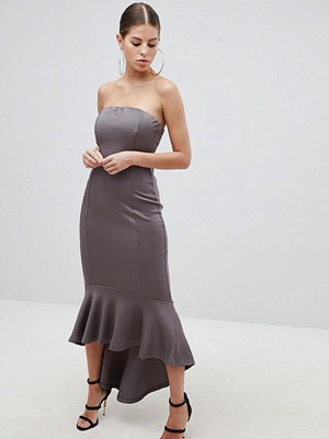 Ax Paris Bandeau Midiaxi Dress With Peplum Hem - Pewter