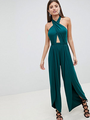 ASOS DESIGN Cross Front Jersey Jumpsuit With Wrap Leg Detail - Dark green