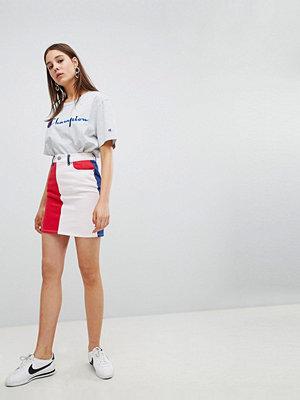 ASOS DESIGN denim original skirt in colourblock - Blue/ red/ pink