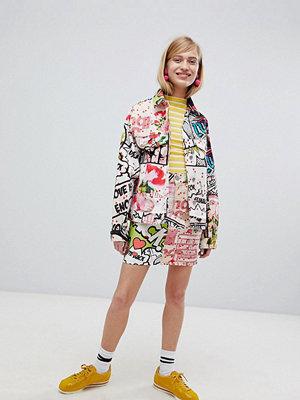 ASOS DESIGN denim skirt in art print co ord