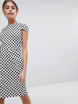 Closet London Tie Back Short Sleeve Dress In Polka