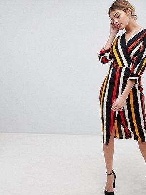 Closet London Wrap Dress In Contrast Stripe - Multi stripe