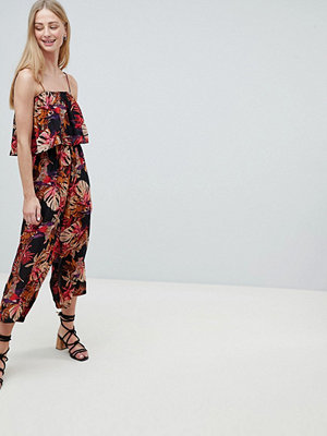 Brave Soul Tropic Jumpsuit Black / red palm pr