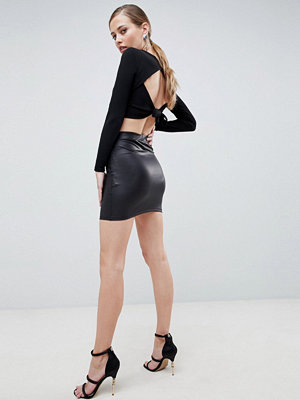 ASOS DESIGN leather look mini skirt