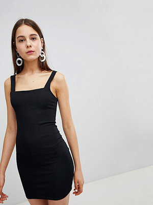 New Look Square Neck Rib Mini Dress