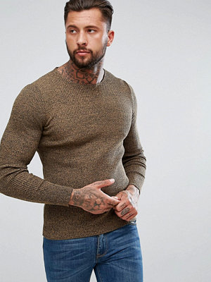 ASOS Longline Muscle Fit Ribbed Jumper In Camel Twist - Camel