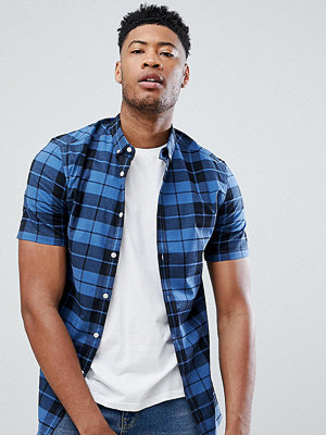 ASOS DESIGN Tall skinny check shirt in blue - Blue
