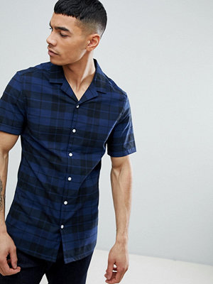 ASOS DESIGN skinny check shirt with revere collar