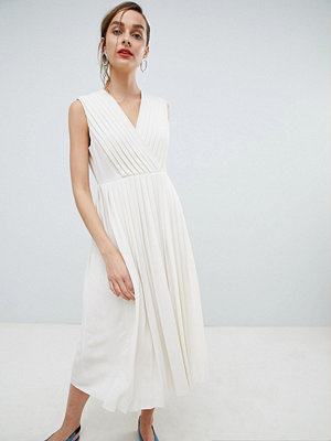 Selected Pleated Wrap Dress - Birch