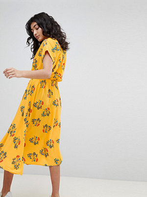 Weekday Floral Midi Dress - Yellow floral