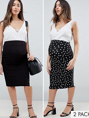 ASOS Maternity ASOS DESIGN Maternity over the bump longer line midi skirt 2 pack print and plain - Black / mono