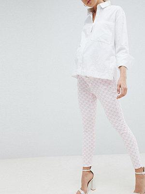 ASOS Maternity Ridley Rosamönstrade smala jeans med hög midja White mono