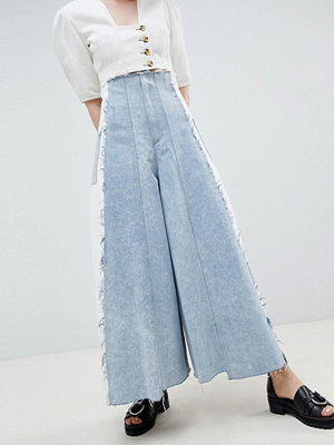 ASOS DESIGN Corset Wide Leg Jeans With Contrast Panel