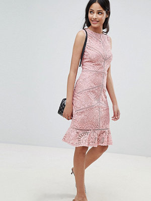 New Look Lace Crochet Trim Dress - Nude
