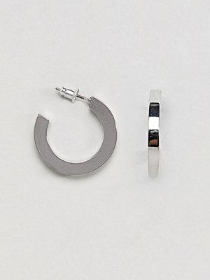 ASOS örhängen DESIGN Square Edge Hoop Earrings - Rhodium