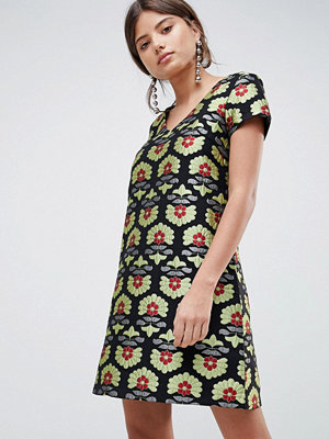 Traffic People Short Sleeve Jacquard A Line Dress - Black/green