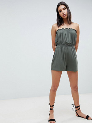 ASOS DESIGN Bandeau Jersey Playsuit With Shirred Waist - Khaki