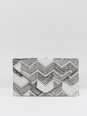 New Look kuvertväska Beaded Envelope Clutch Bag - Grey