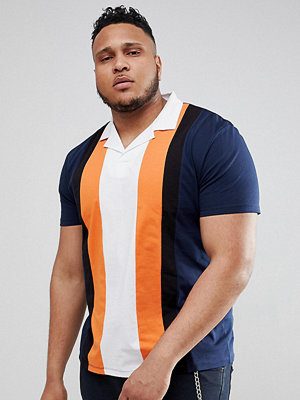 ASOS DESIGN Plus relaxed polo shirt with retro vertical panels and revere collar
