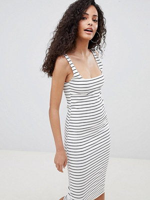 Bershka jersey midi dress in multi stripe