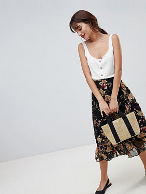 Vila floral midi skirt with ruffle hem - Black