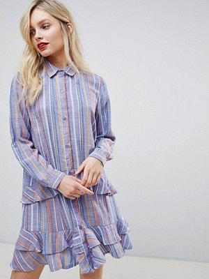 New Look Frill Shirt Dress - Blue pattern