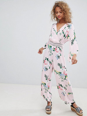 Miss Selfridge jumpsuit with lace insert in floral print