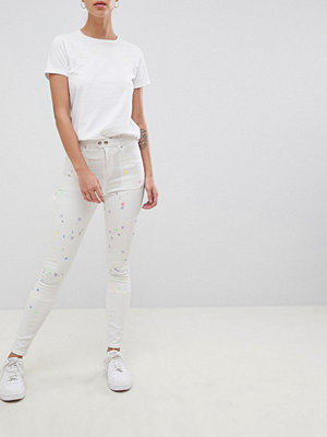 ASOS DESIGN Ridley high waist skinny jeans with painter styling in pax painted wash - Multi