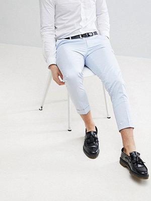 ASOS Wedding Skinny Crop Smart Trousers In Light Blue Cotton Sateen - Light blue