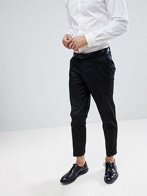 ASOS Skinny Crop Smart Trouser In Black Cotton Sateen