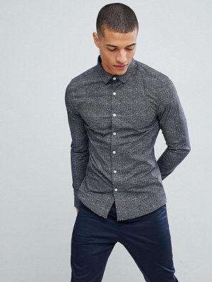 ASOS DESIGN smart skinny ditsy shirt