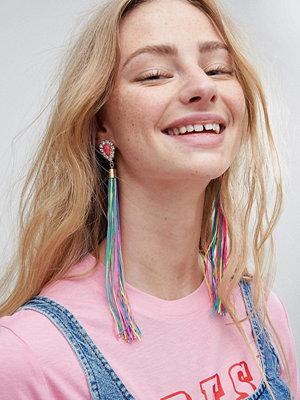 ASOS örhängen Statement Jewel Stone and Multicolour Tassel Earrings