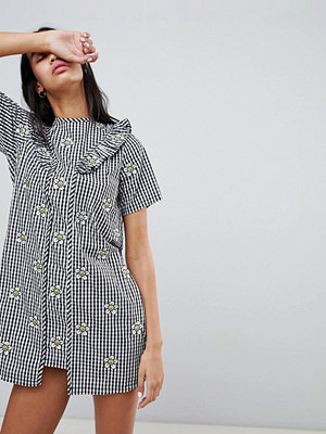 Lazy Oaf Gingham Dress With Floral Embroidery